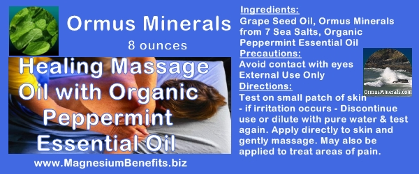 Ormus Minerals Healing Massage Oil with Organic Peppermint Oil